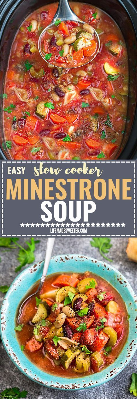 Easy Slow Cooker Homemade Minestrone Soup - A dump and go crock-pot meal that's perfect for busy weeknights! Full of healthy vegetables with white and kidney beans. Olive Garden Copycat but so much better for you since you can customize the ingredients. So cozy, comforting & delicious! Just set and forget it! Plus a step-by-step video!