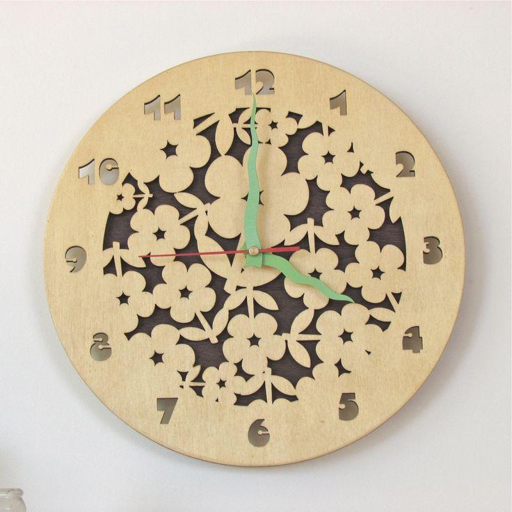 Wooden Wall Clock Laser Cut Flowers