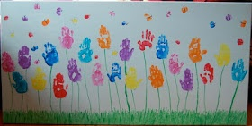 Handprint garden - Great activity for the first day of Prep. Link broken but still a nice idea.