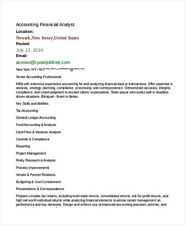 Accounting Financial Analyst Resume Template 1 Financial Analyst Resume Sample If You Are The One That Searches For Fina Financial Analyst Resume Financial
