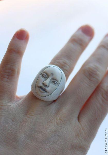 Leather ring / Кольца ручной работы. Кольцо из кожи Uno Blank. Наталья Коштело. Ярмарка Мастеров. Кольцо с лицом, необычное кольцо