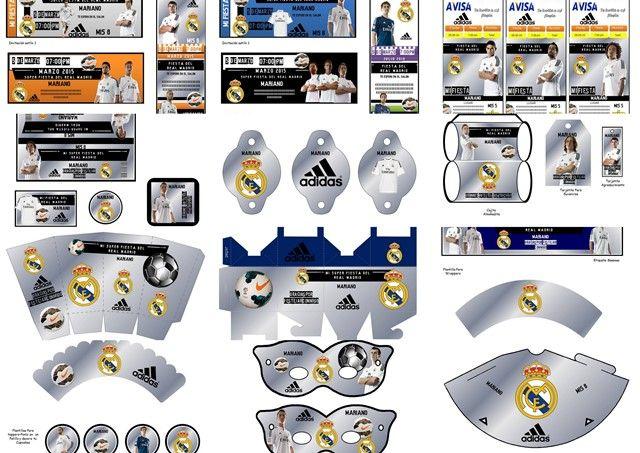 Kit Imprimible Real Madrid Fiesta Cumpleaños Torta Futbol - $ 40,00