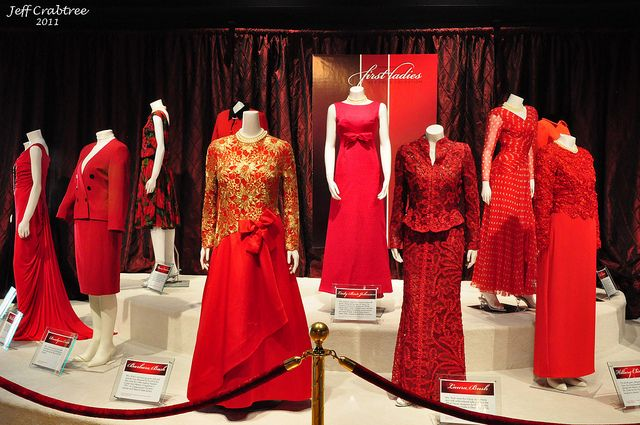 First Ladies Red Dress Collection at the George H.W. Bush Presidential Library. Every First Lady since Lady Bird Johnson has worn the dresses to promote awareness of the #1 killer of women—heart disease.