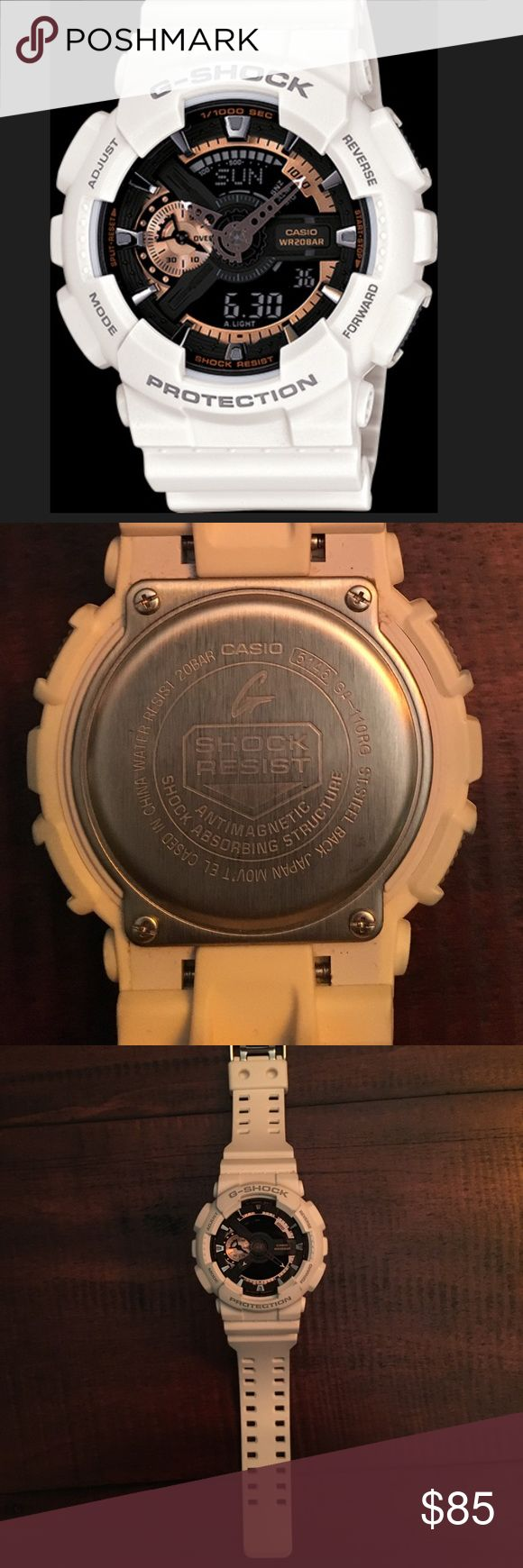 "Casio G-Shock Men's White Watch Casio G-Shock Men's watch. In excellent condition - very minor color discoloration on corners near where it says ""protection"". Style: 5146 GA-110RG. Great buy from a 5 star seller star ⭐️ ⭐️⭐️⭐️⭐️ Casio Accessories Watches"
