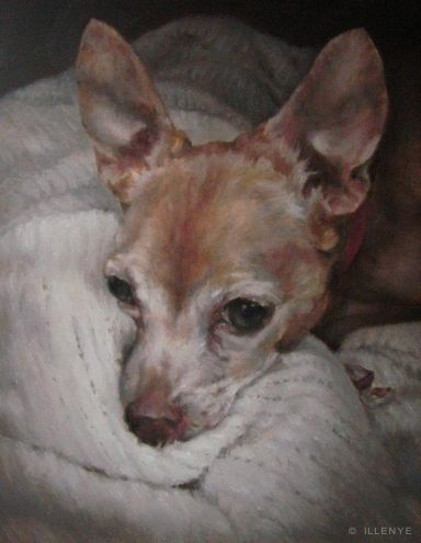 chiwawa custom dog portraits painted with love, painting by artist JEANNE ILLENYE