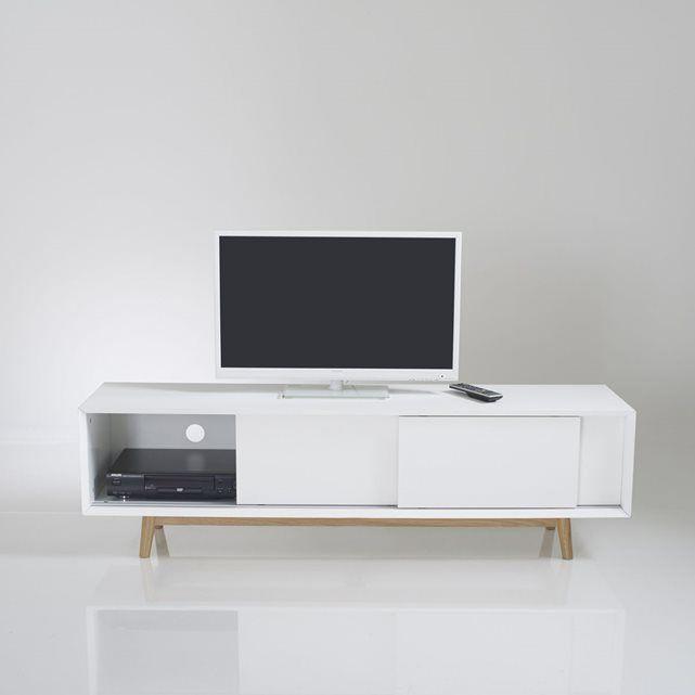 17 meilleures id es propos de meuble tv chene massif sur for Meuble tele porte coulissante