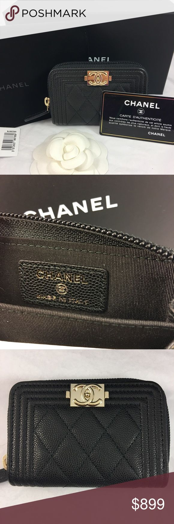 BNWT Chanel Boy Small Wallet in Black Caviar Guaranteed AUTHENTIC Brand New Chanel Boy Zip Around O Coin Purse, Card Holder in Black Caviar Leather with Gold Hardware.  Comes with Chanel box, Velvet dustbag, care booklet, Authenticity card and tag.  Receipt upon request. Feel free to ask questions and more photos for serious inquiries.  No trade please.  Ships ASAP! CHANEL Bags Wallets