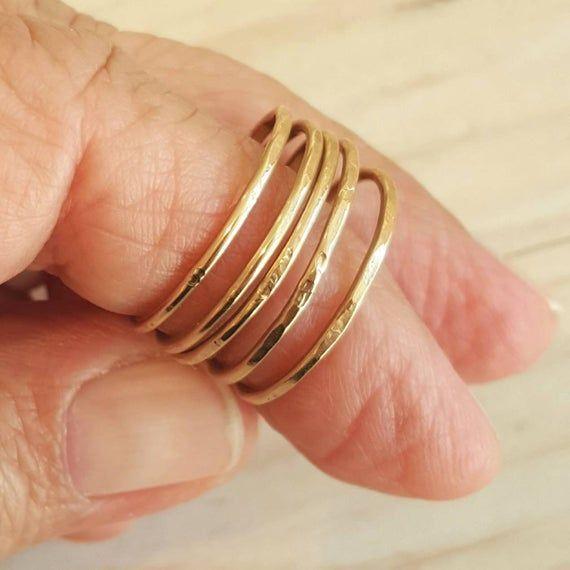 14k Gold Filled Stacking Ring Hammered Stacking Ring Hammered Ring Set Of Three In 2020 Stacking Rings Etsy Thin Gold Rings 14k Gold Filled Ring