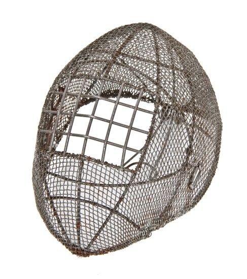 unusual late 19th or early 20th century heavily reinforced galvanized steel mesh fencing mask or helmet with grid-like eye shield