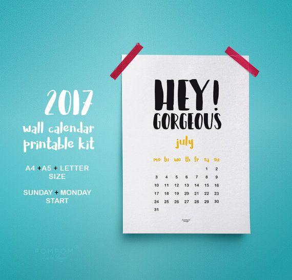 2017 Calendrier imprimable, affiche poster calendrier mural, planner 2017, agenda organisation 2017 calendrier téléchargeable A4 A5  --- A4 / A5 / LETTER SIZE (US) --- DÉBUT LUNDI OU DIMANCHE --- 1 PAGE DE COUVERTURE --- 1 PAGE ANNÉE --- 12 PAGES MOIS --- EN ENGLAIS  TÉLÉCHARGEMENT NUMÉRIQUE INSTANTANÉ 1 FICHIER ZIP > Le calendrier est en PDF  À noter : - Les couleurs peuvent varier selon l'écran, le papier utilisé ou l'imprimante - Il sagit dun achat numérique, aucun envoi posta...