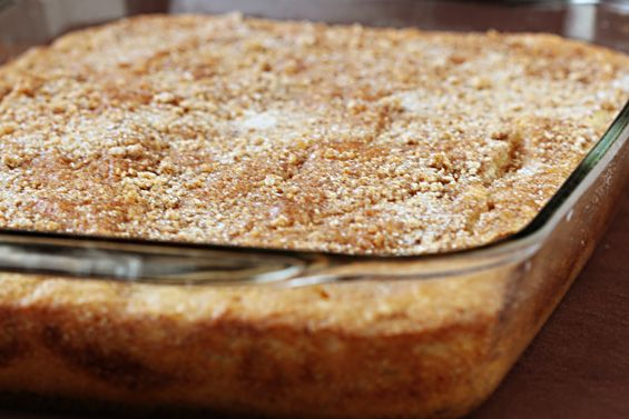 Brad's fav coffee cake - added oats + sliced almonds in the middle/top, and 1 C frozen blueberries to the batter