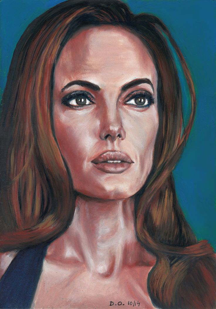 a little more work.  Angelina Joly oil painting on paper
