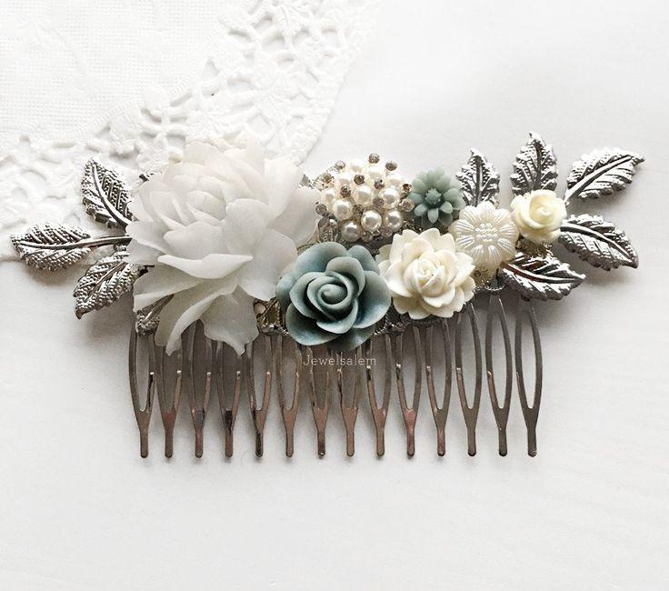 Iris - Mercury Steel Blue Wedding Comb