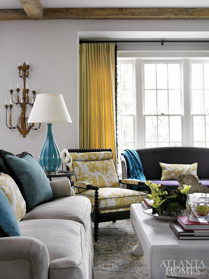 Family room- beautiful wall colors with contrasting and complimentary furniture