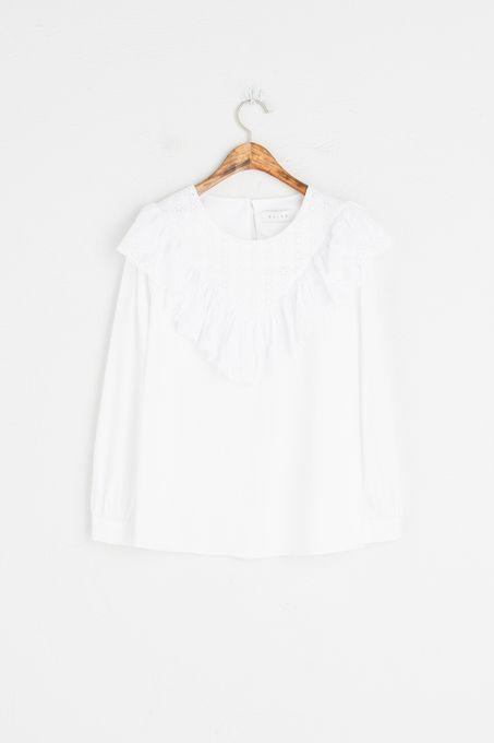 Lace Frill Cotton Blouse, White, 100% Cotton