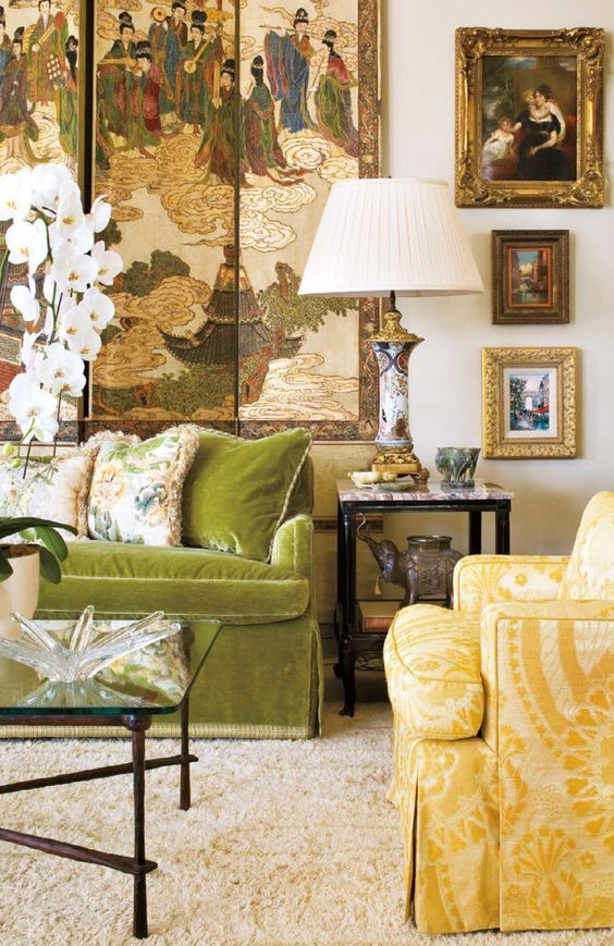 Chic Chinoiserie screen in a traditional living room