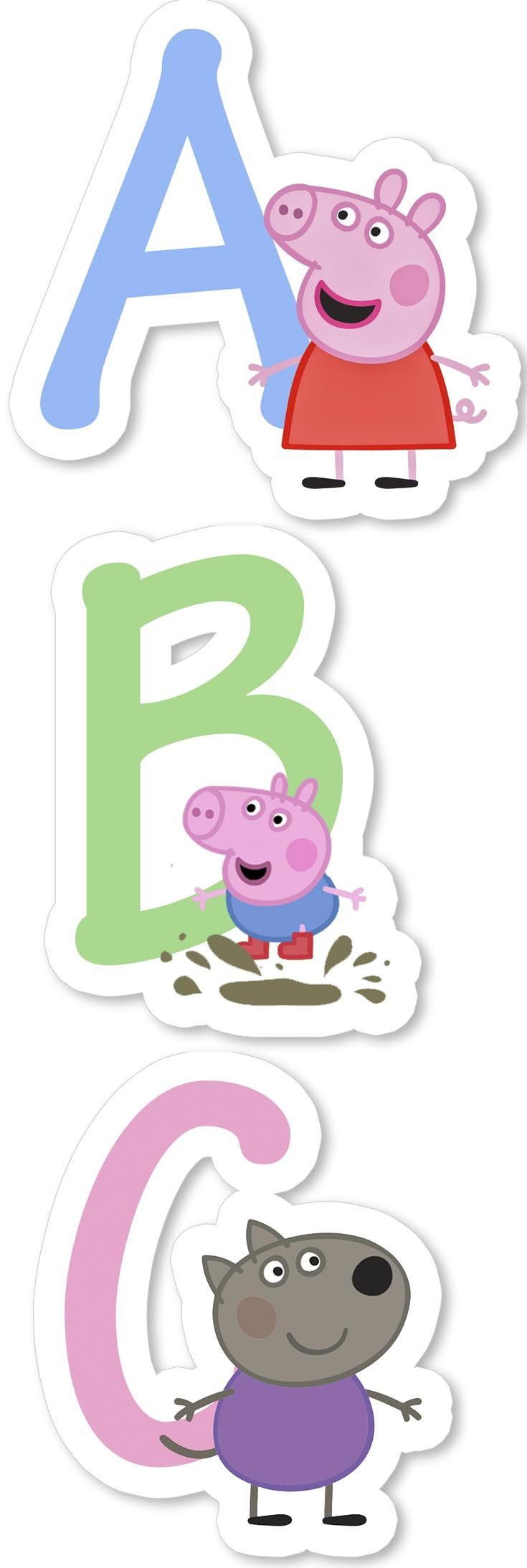 Pe peppa pig online coloring pages - Peppa Pig Alphabet Clipart Birthday Decorations Digital Alphabet Kids Birthday Party Printables Printable Abc Invitations Paper Png