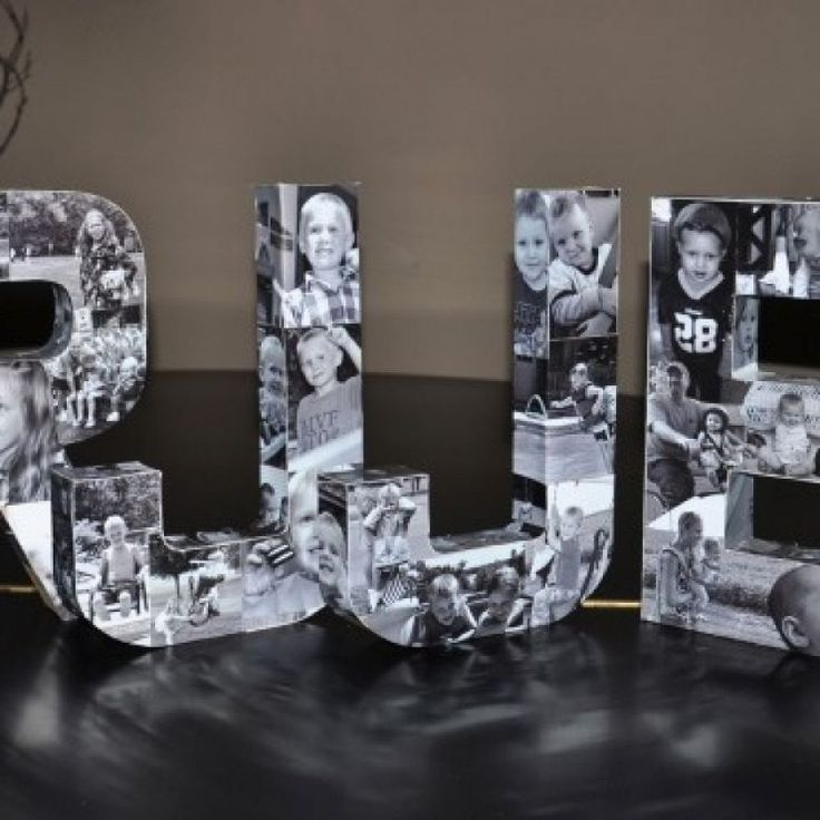 DIY - Photo Initials This would be a good Ideas for Class Reunion table peice also!