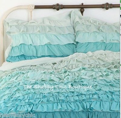 Shabby Chic Ruffled Pillow Shams : Shabby Beach Cottage Chic Ruffled Queen Duvet Doona Quilt Cover & Pillow Shams Aqua color ...