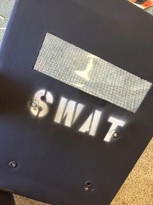 Handmade SWAT riot shield.  SWAT Party