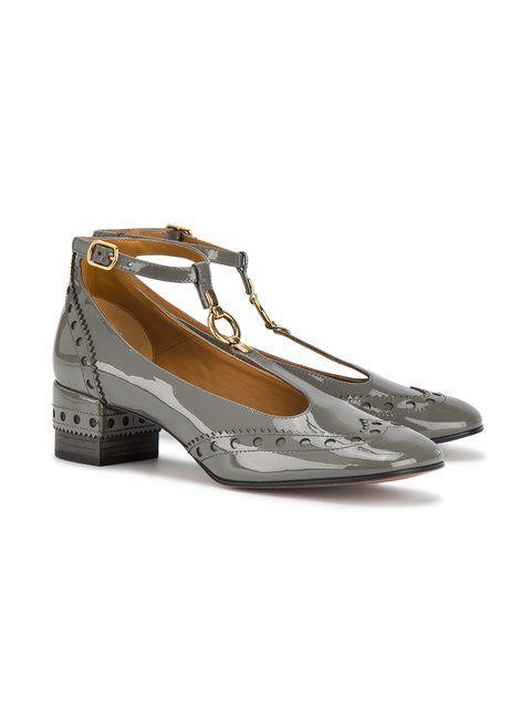 459da6e5c61 Chloé Grey Patent Leather Perry 45 T Bar Heels