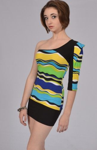 Black Yellow Blue One-shoulder Dress-California Collection