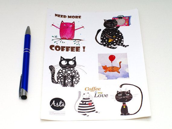 Cool STICKERS Diary stickers animal - Cat stickers planner - Laptop stickers sheet of 4 - Funny stickers - Laptop sticker - Black and white cats