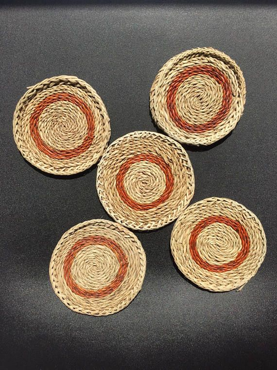 Woven coasters Set of 5  Vintage handmade natural ethnic
