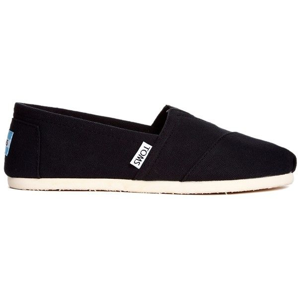 TOMS Classic Canvas Black Flat Shoes (340 VEF) ❤ liked on Polyvore featuring shoes, flats, blackcanvas, toms flats, flat pumps, toms footwear, slip on shoes and toms shoes