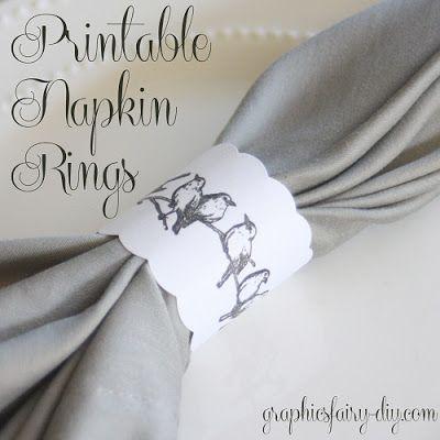Printable Bird Napkin Rings - The Graphics Fairy