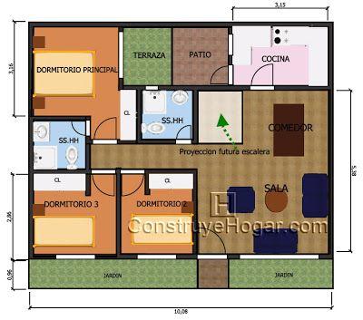 Plano de casa de 10 x 10 metros casas pinterest 3d for Planos de casas 3d