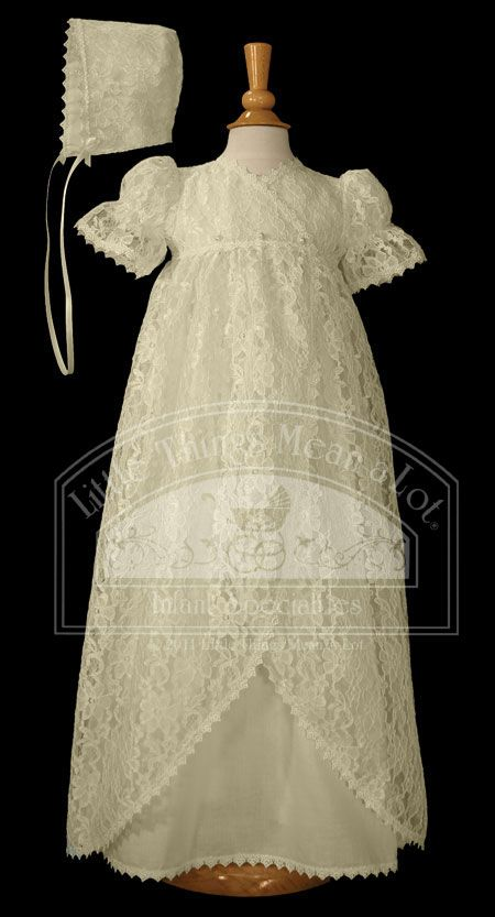 beautiful Victorian Vintage heirloom christening gown.  Love the lace!  LIttle Things AL78GS $170 #christening #baptism #baby