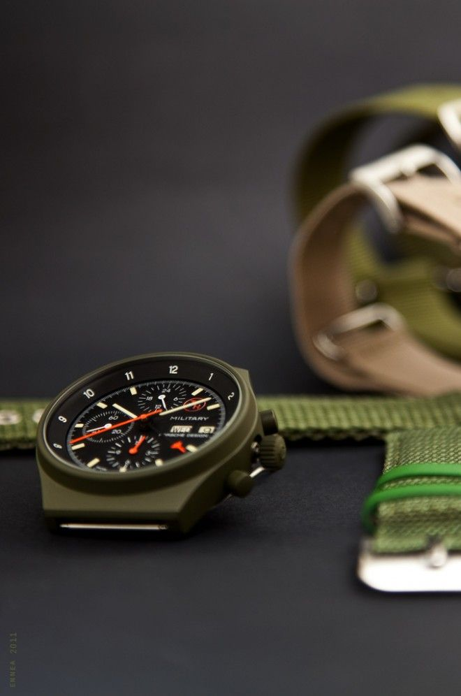 Porsche Design Orfina features a unique olive-drab PVD coating Physical Vapor Deposition (PVD) has been around for decades primarily in military applications original designed to decrease friction wear on metal parts. It bonds a micron thick layer of metal compounds to metal or other materials.