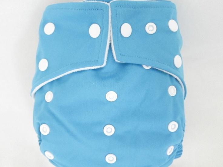 Original Cross-Over Squared Tab Snap cloth diaper.  Color: Sky Blue.