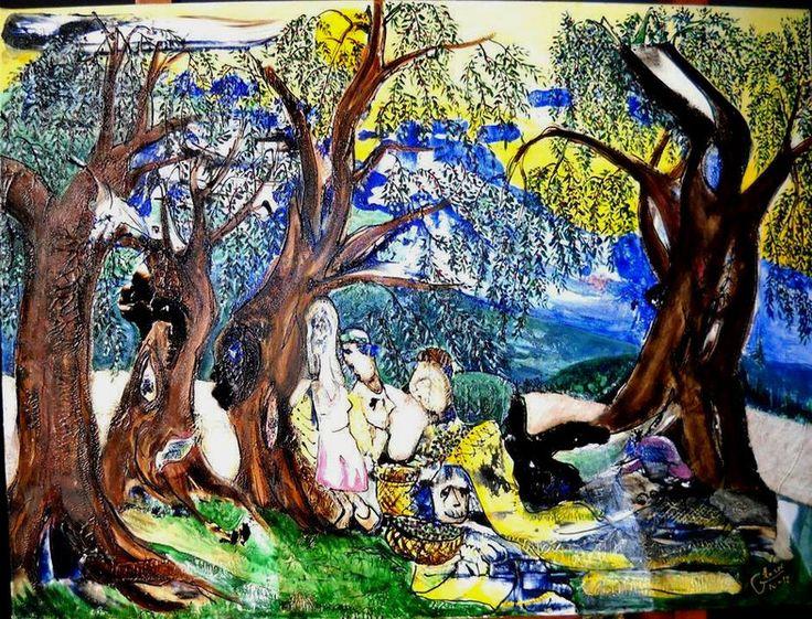 -LA RACCOLTA DELLE OLIVE- 80x60cm euro 1600 di GRossi Artista su DaWanda.com