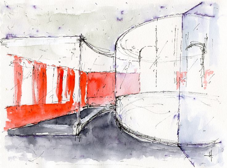 Acquerello di studio per la nuova hall del collegio universitario Einaudi, sezione Po.  Progetto di ristrutturazione di Luca Moretto