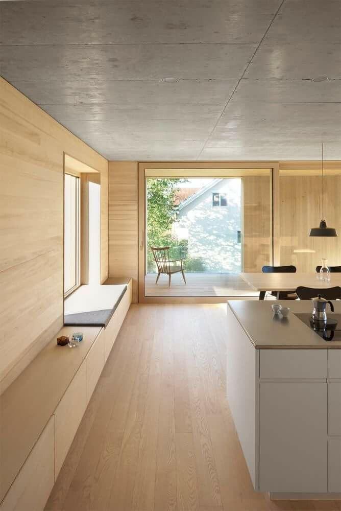 All wood everything! Stunning minimalist interior, open space kitchen.