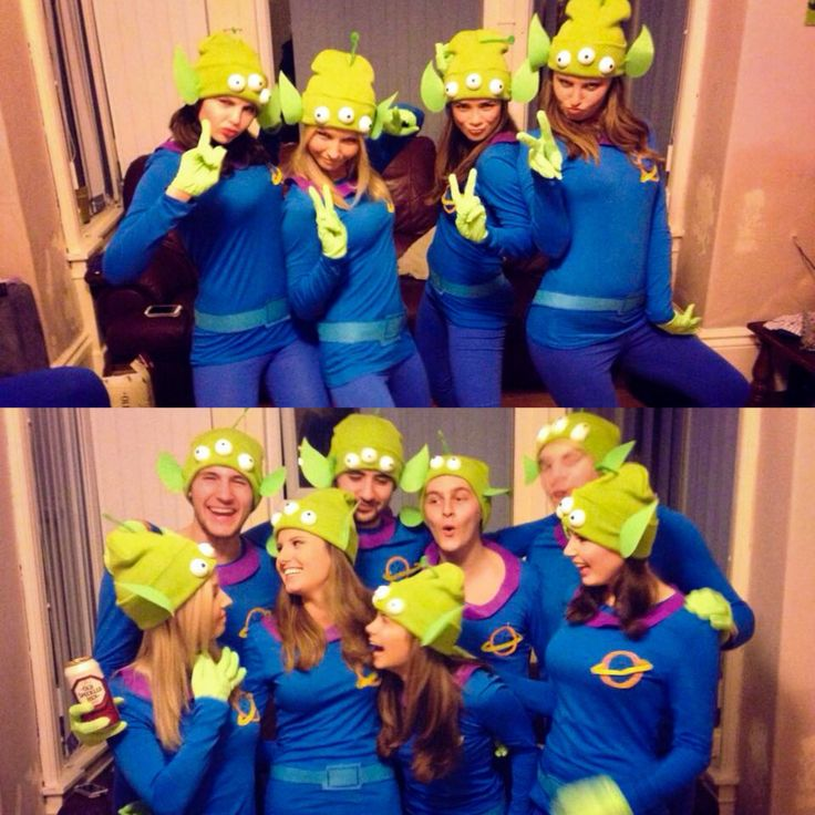 DIY Group fancy dress Costume Disney costumes ideas. Disney fancy dress. How to make tutorial Disney Pixar Toy Story Group Halloween Costume Little Green Men cute Pizza Planet Aliens DIY easy Homemade Outfit. Clever. How to here: http://clothes-andstuff.blogspot.co.uk/2014/11/h-o-m-e-m-d-e-h-l-l-o-w-e-e-n.html