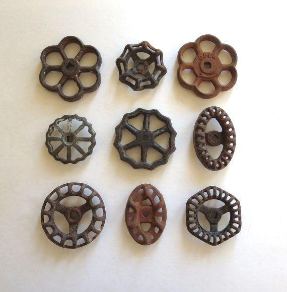 9 vintage faucet handles, valve handles, industrial, water knobs, spigot handles, rusty rustic, primitive, collection, variety, old worn 568