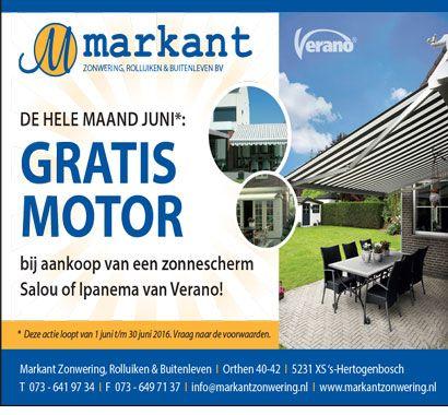 https://www.markantzonwering.nl/verano-ipanema-knikarmscherm  De hele maand juni 2016 Verano gratis motor actie voor het Salou  en Ipanema knikarmscherm.  https://www.markantzonwering.nl/verano-ipanema-knikarmscherm