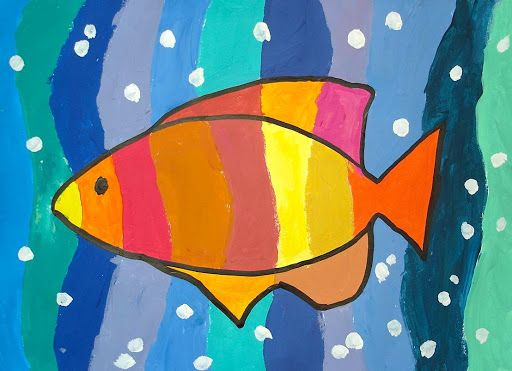 """With the 6th gradestudents, we made an acrylic painting to experience the variety of warm and cool colors. Working on color theory we discovered how many colors can be """"warm"""" , and &#8…"""