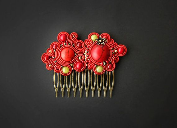 Red soutache hair comb by pUkke on Etsy, €17.00