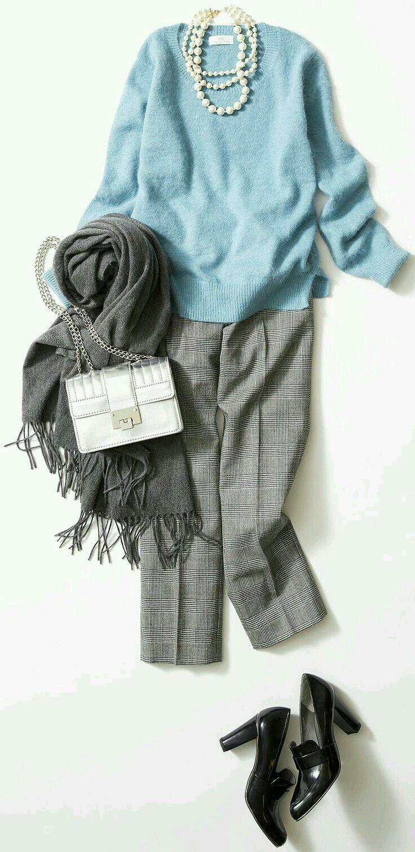 Mint. Aqua. Light blue. Grey. Silver purse. Pearls. Loafers.