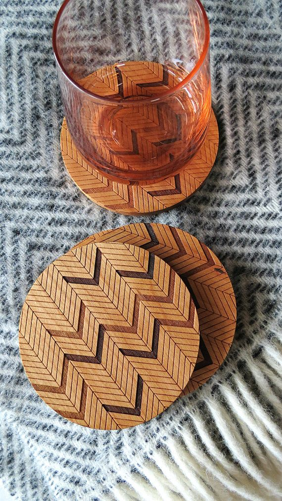 Wood Coasters Engraved Wood Coasters Herringbone by GrainDEEP