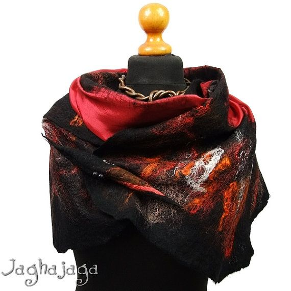 Evening shawl wrap silk scarf handmade shawl nuno felted