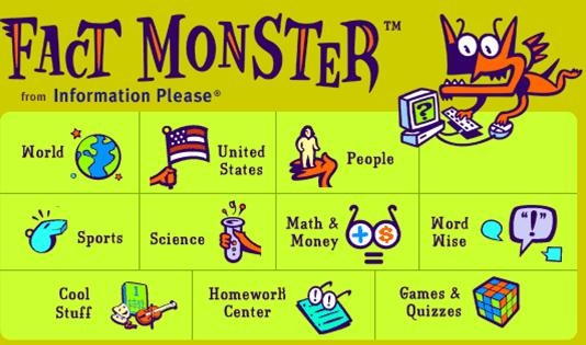 Fact Monster can be used for multiple resources-dictionary, encyclopedia, atlas, and almanac. Students may search the site using the almanac search index or type their topic in the search box in order to narrow their search.  This site also provides homework help and games for kids.