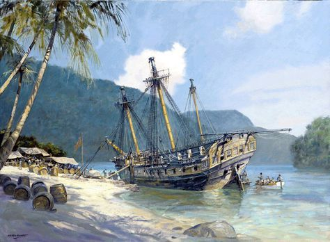 """Geoff Hunt Print - """"Pacific Haven"""" Refitting HMS Lydia on the Island of Coiba. In CS Forester's The Happy Return, the Lydia was a middle-sized Fifth-rate built at Woolwich in 1796 to the design of Sir William Rule at a cost of £19,070. Her commission under Hornblower began on March 12, 1807. -- on ScrimshawGallery.com #GeoffHunt #Hornblower"""