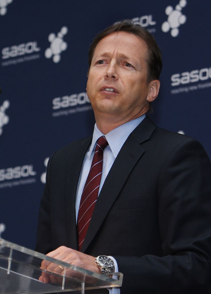 Sasol, the world's biggest coal-to-liquid fuel producer, said full-year profit rose 14 percent after synthetic-fuels output advanced and the rand weakened.  Click here to read the full story: http://www.iol.co.za/business/companies/sasol-profit-up-as-fuel-output-rises-1.1747319#.VA2ypqJN-lg  Caption: Sasol chief executive David Constable presenting the company's latest financial results at Sasol's offices in Rosebank in Johannesburg. Credit: Simphiwe Mbokazi.