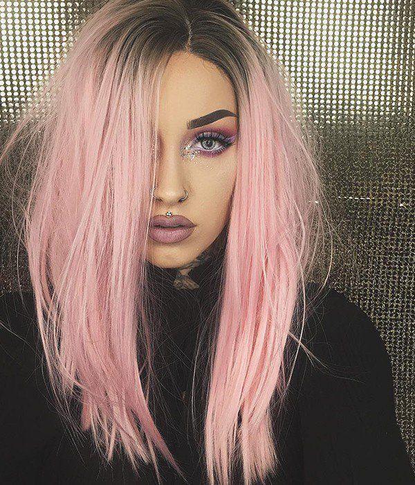 Pink Hair Dark Roots Pink Hair In 2020 Hair Color Trends Light Brown Hair Flamingo Pink Hair