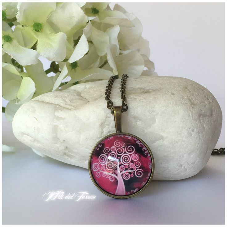 Collana lunga bronzo albero della vita, medaglione bronzo albero della vita, ciondolo con cabochon in vetro albero della vita, spiritual,zen di IFilidelTesoro su Etsy